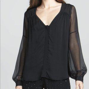 DVF Diane Von Furstenberg Lane Black Silk Blouse